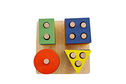 Genius Art Wooden Shape Sorter Puzzle for Toddlers - Educational Stacking Toy - Geometric Blocks Game for Preschool Kids