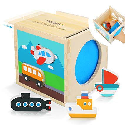Peradix Shape Sorter Toy Classic Wooden Blocks Developmental Toy for Baby Boys & Girls Shape & Color Learning Ativity Center